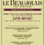 Refinery Beaujolais Wine Tasting Flyer